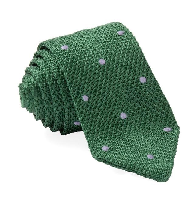 Pointed Tip Knit Polkas Green Tie