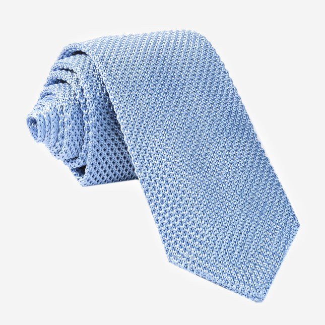 Pointed Tip Knit Sky Tie