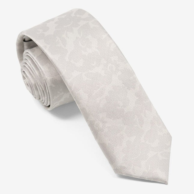 Refinado Floral Silver Tie