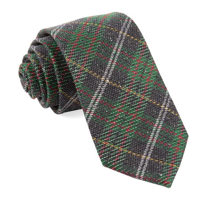 Christmas List Plaid Green Tie
