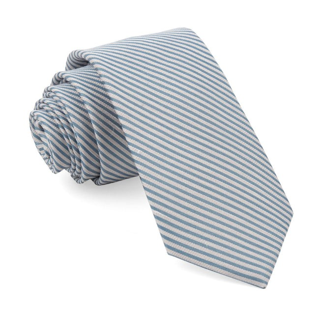 Mumu Weddings - Coastal Stripe Steel Blue Tie