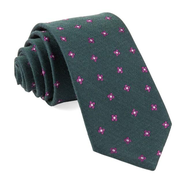 Floral Twist Hunter Green Tie