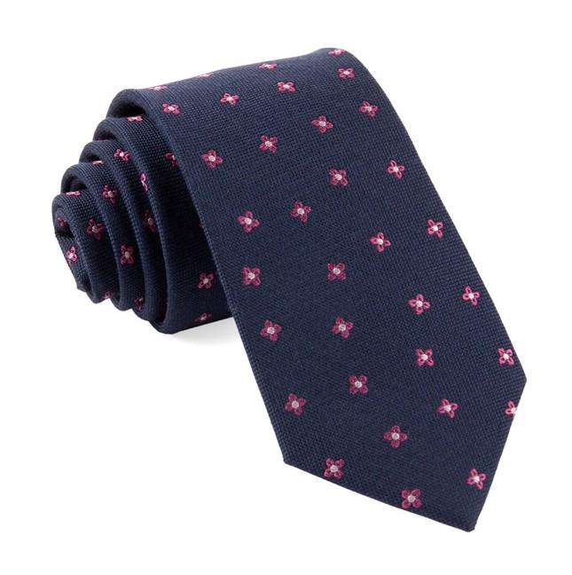 Floral Twist Navy Tie