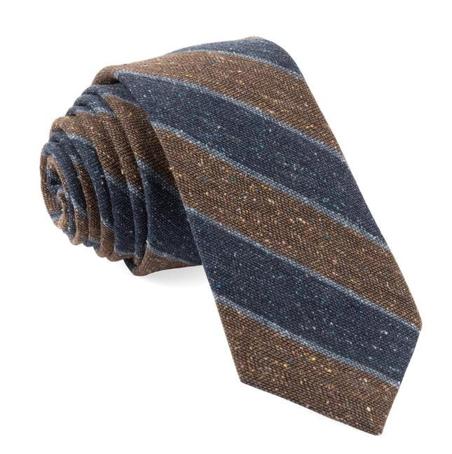 Texture Row Stripe Brown Tie