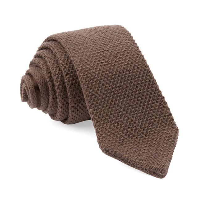 Wool Pointed Tip Knit Brown Tie
