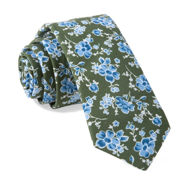 Walnut Street Floral Hunter Green Tie