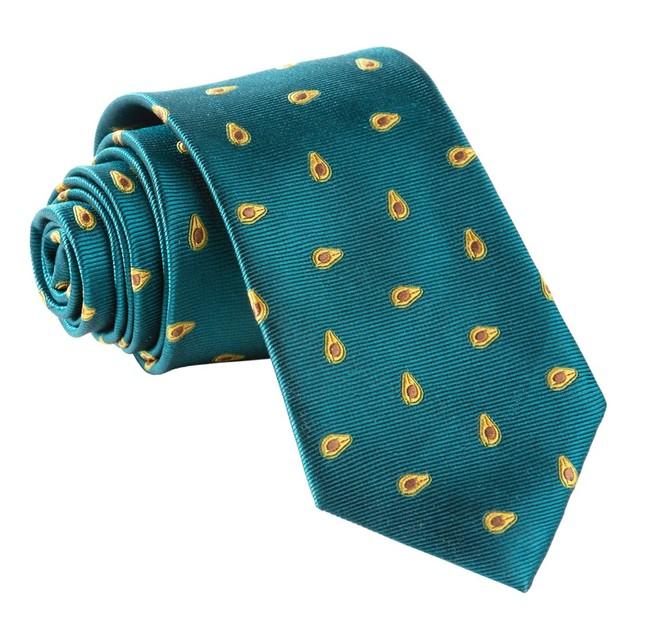 Avocados Green Teal Tie
