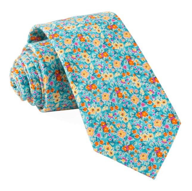 Freesia Floral Turquoise Tie
