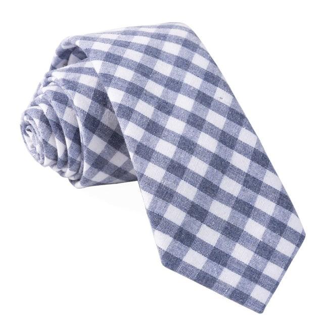 Yacht Checks Navy Tie