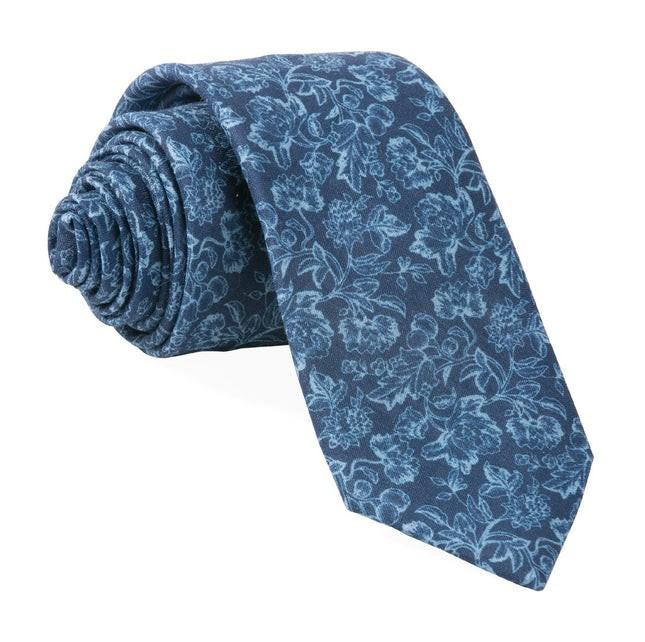 Bhldn Flower Portrait Navy Tie