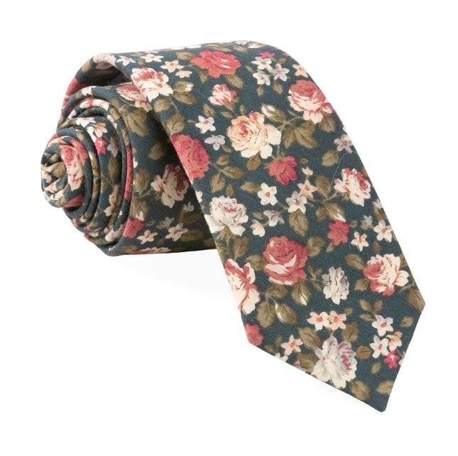 Moody Florals Green Tie