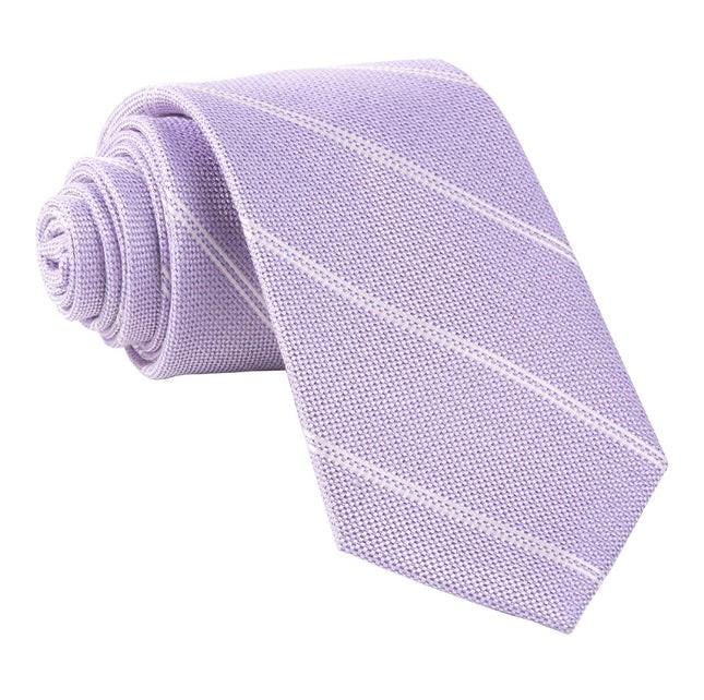 Silver Stripe Lavender Tie