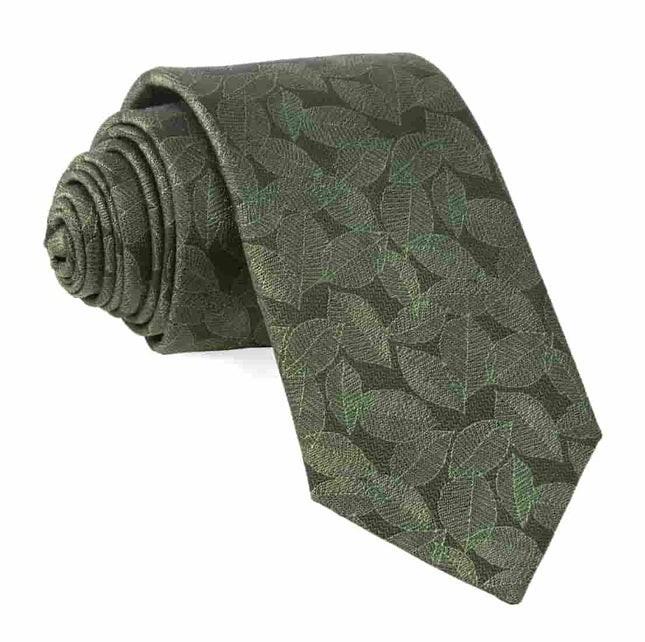 Tonal Leaf Olive Tie