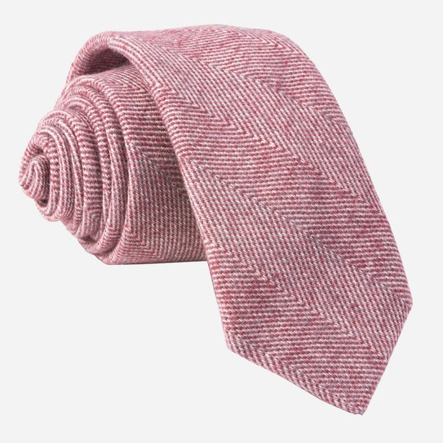 Brushed Cotton Herringbone Burgundy Tie