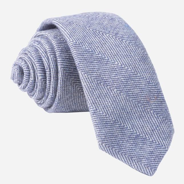 Brushed Cotton Herringbone Classic Blue Tie
