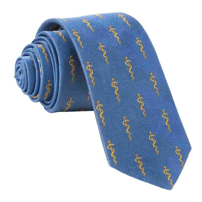 Rod of Asclepius Doctor's Tie Classic Blue Tie