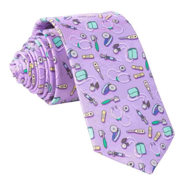 Medical Instruments Purple Tie