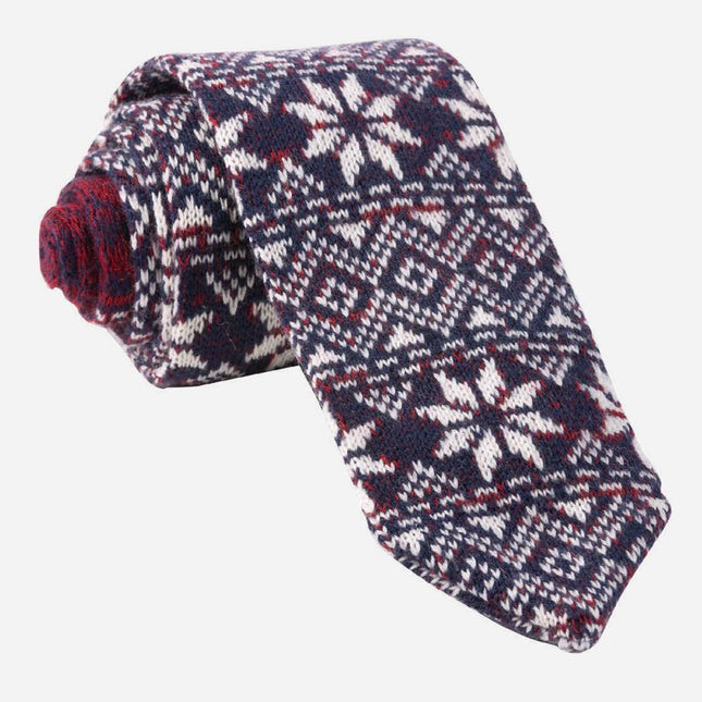 Frosted Snowflake Navy Tie