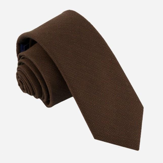 Alleavitch Herringbone Chocolate Brown Tie