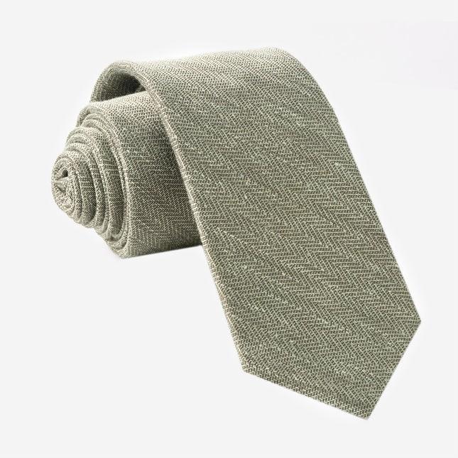 Alleavitch Herringbone Olive Green Tie