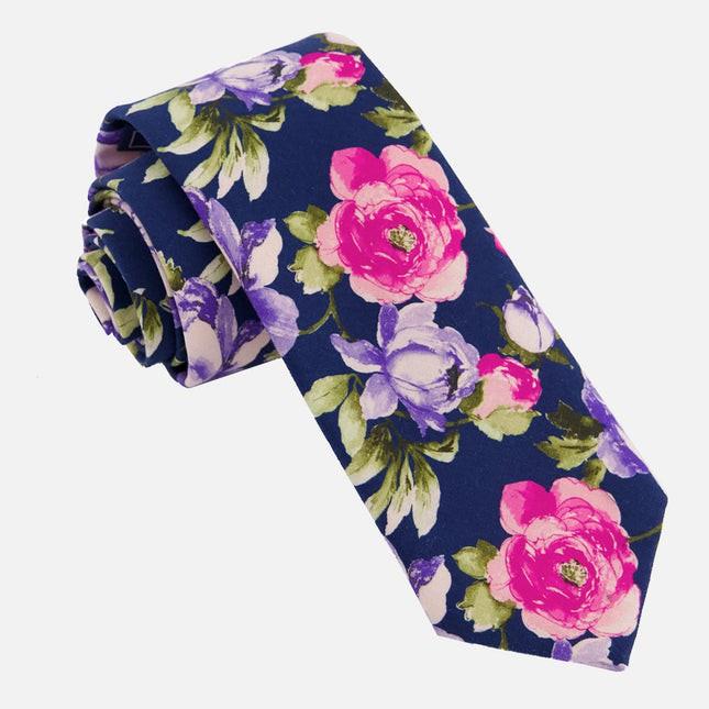 Blush Peony Navy Tie