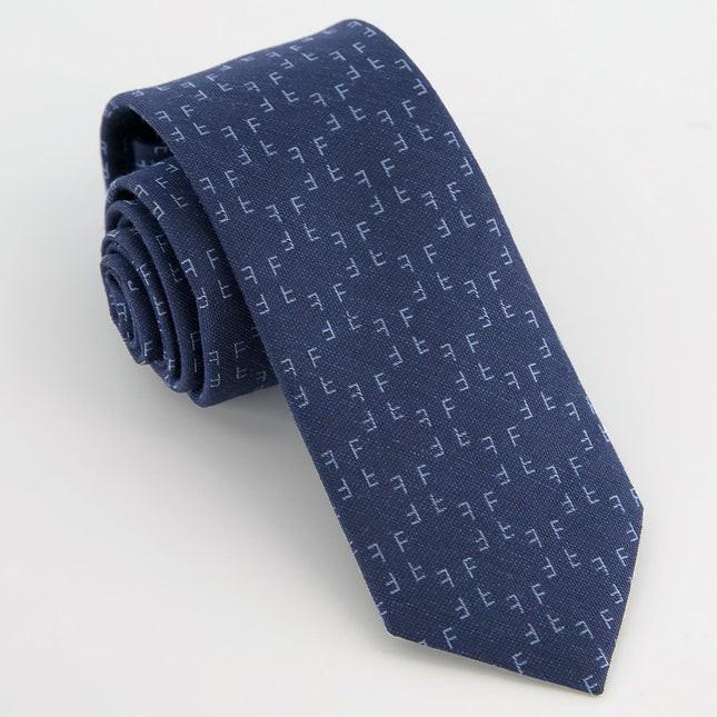 Monogram Navy F Tie