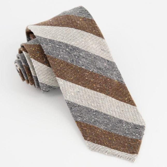 Unlined Textured Stripe Brown Tie