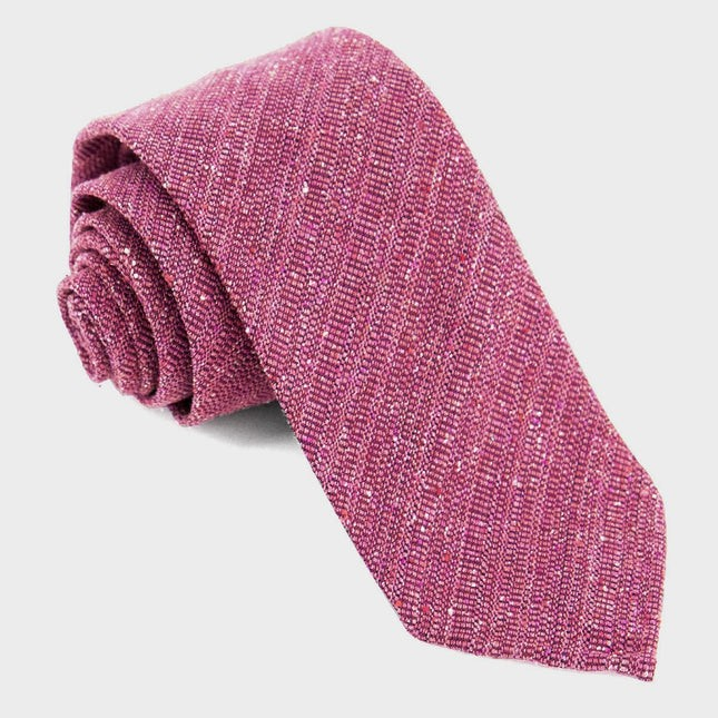 Unlined Textured Solid Raspberry Tie