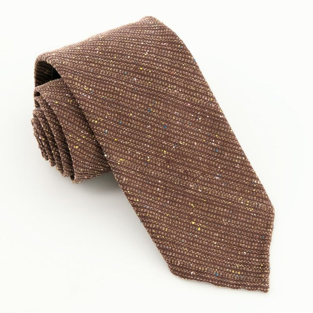 Unlined Textured Solid Chocolate Brown Tie