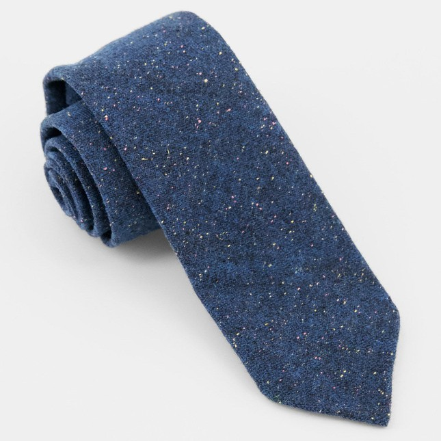 Unlined Donegal Wool Navy Tie