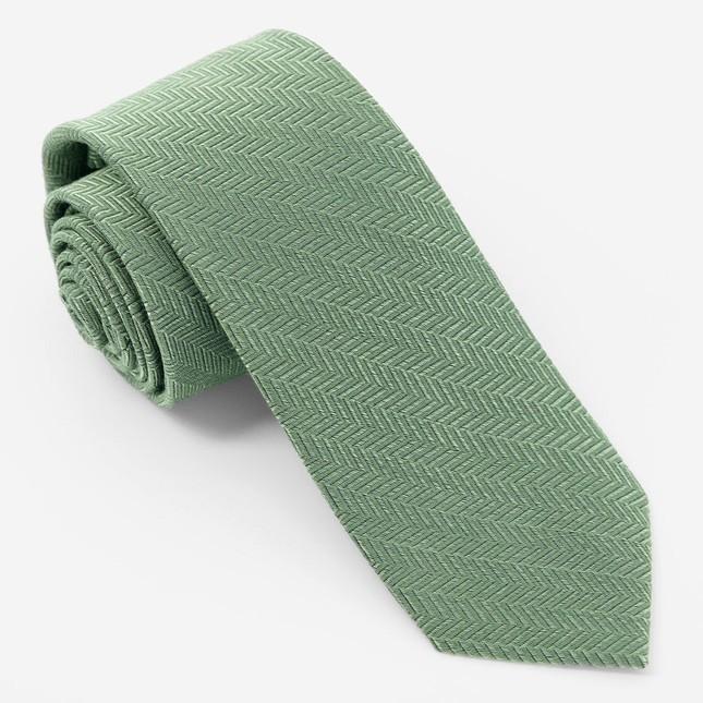 Solid Wool Herringbone Sage Green Tie