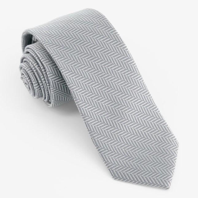 Solid Wool Herringbone Silver Tie
