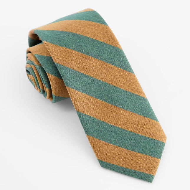 Textured Double Stripe Hunter Green Tie