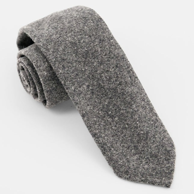 Unlined Solid Wool Charcoal Tie