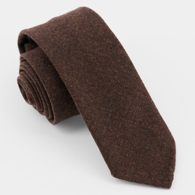 Unlined Solid Wool Chocolate Brown Tie