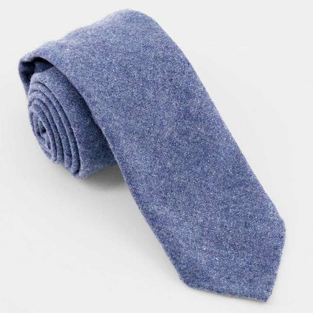 Unlined Solid Wool Slate Blue Tie