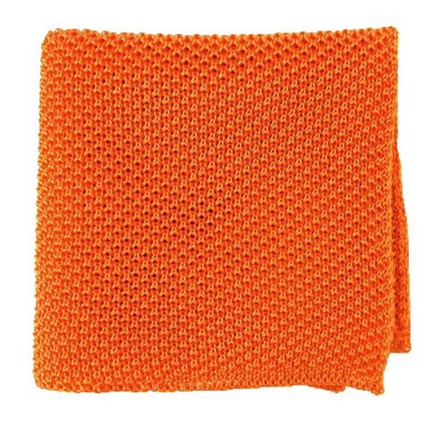 Solid Knit Tangerine Pocket Square
