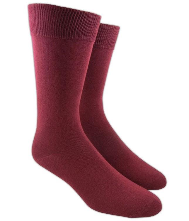 Solid Burgundy Dress Socks