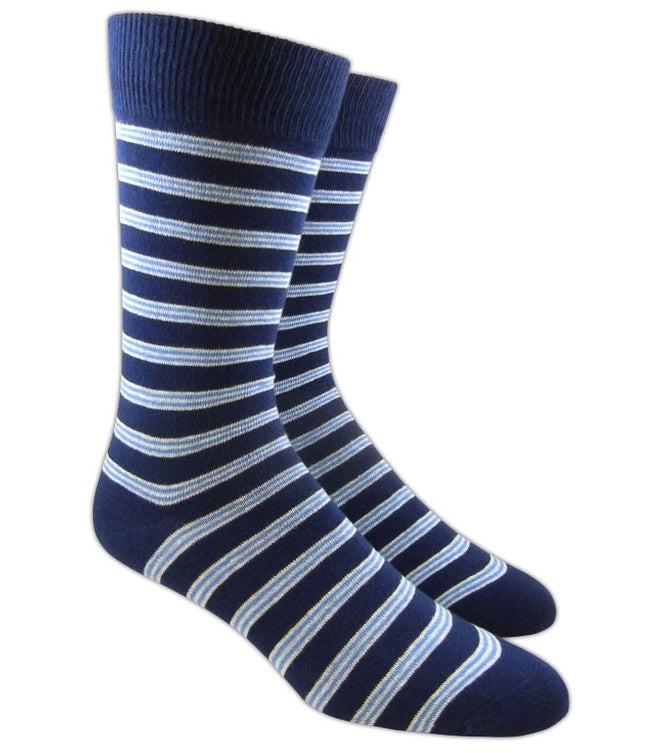 Bar Stripes Navy Dress Socks
