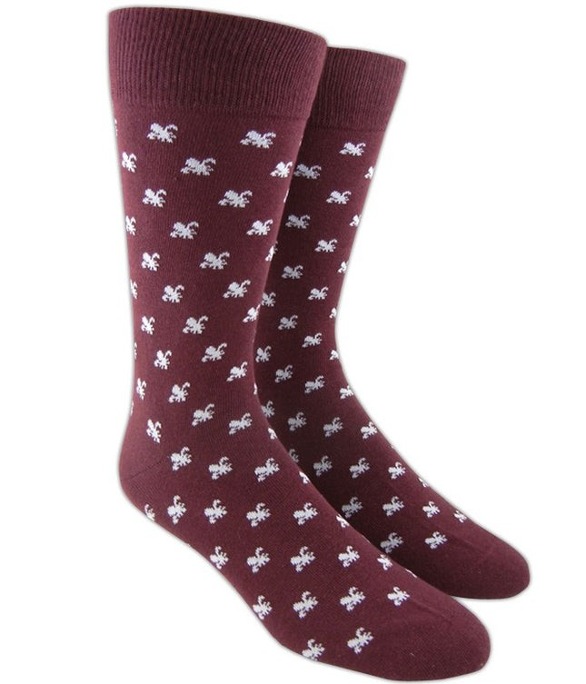 Fleur De Lis Burgundy Dress Socks