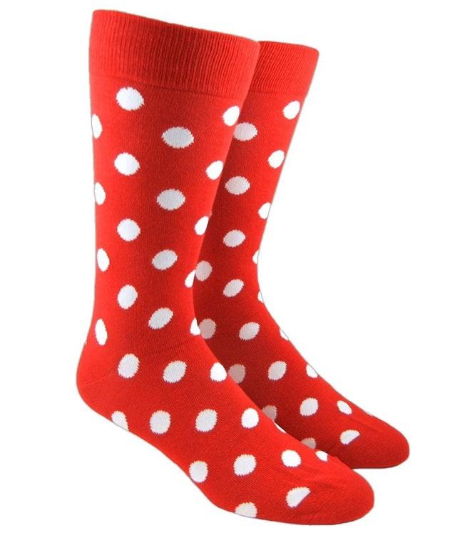 Pop Dots Red Dress Socks