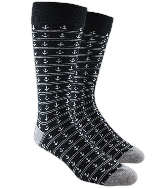 Anchor Stripe Black Dress Socks