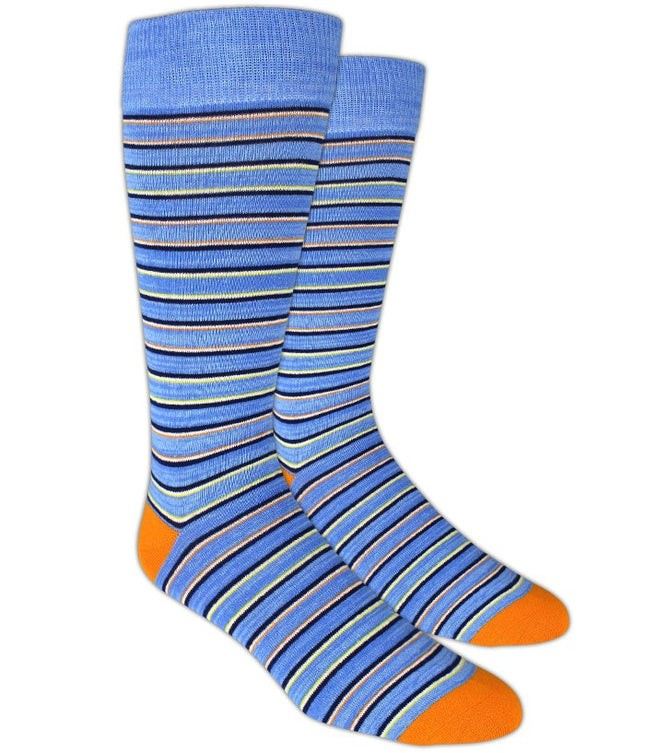 Painted Stripe Blue Dress Socks