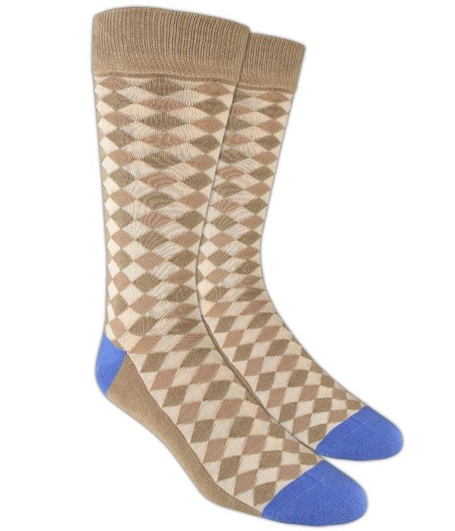 Textured Diamonds Tan Dress Socks