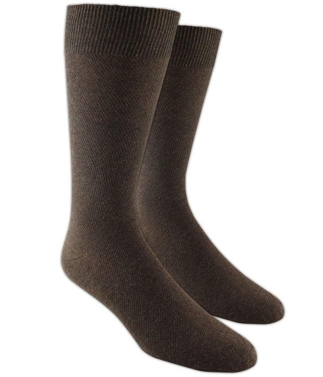Solid Texture Brown Dress Socks