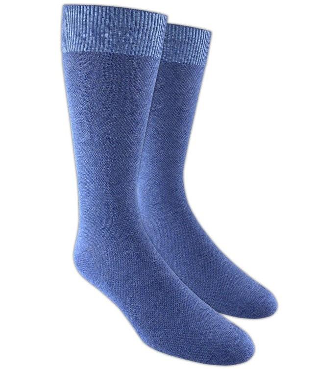 Solid Texture Blue Dress Socks
