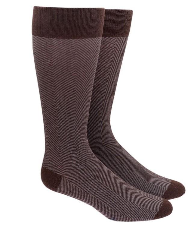 Herringbone Brown Dress Socks
