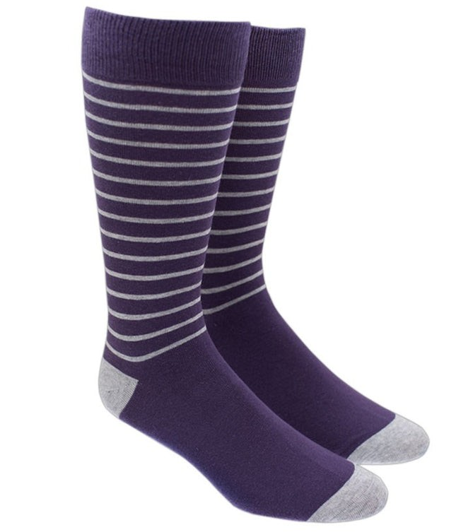Woodland Stripe Eggplant Dress Socks