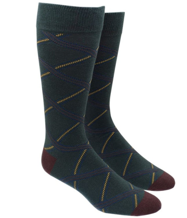 Gravel Plaid Green Dress Socks
