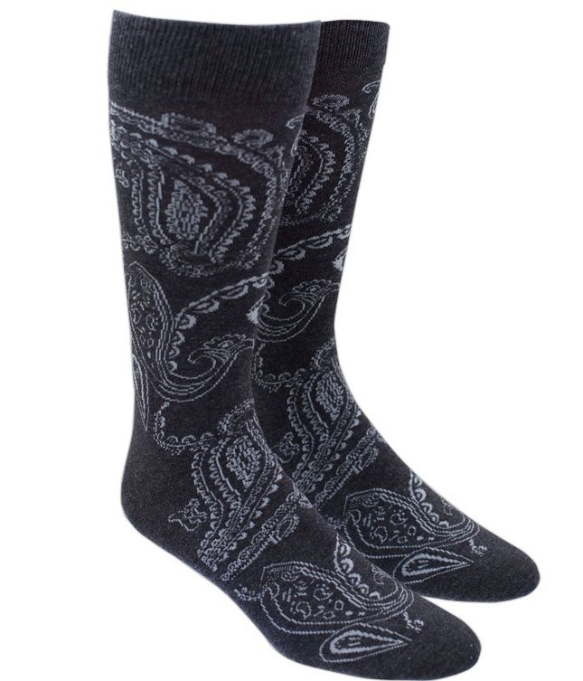 Platform Paisley Charcoal Dress Socks